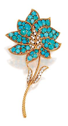 AN 18 KARAT GOLD, TURQUOISE AND DIAMOND FLOWER BROOCH, VAN CLEEF & ARPELS, NEW YORK, CIRCA 1970 designed as a flower set with numerous round and oval cabochon turquoises and 24 round diamonds weighing approximately 1.50 carats, signed Van Cleef & Arpels N.Y., numbered 29707