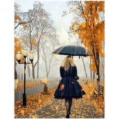 DIY Diamond Painting,Dartphew Autumn Maple Street with Rain & Umbrella Lady - Crafts & Sewing Cross Stitch,Wall Stickers for Home Living Room Umbrella Art, Under My Umbrella, Walking In The Rain, Singing In The Rain, Autumn Rain, Autumn Leaves, Autumn Nature, I Love Rain, Rainy Days