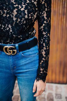 Wayf Levy Lace Bodysuit, J. Crew Flare Jeans, Gucci Marmont Belt, Jimmy Choo Pumps, Chanel Bag