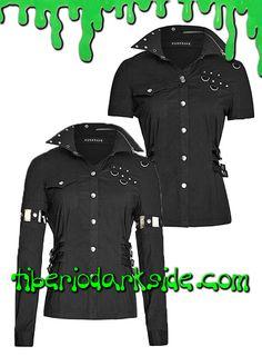 PRECIO en Tiberio Dark Side 58,50€ (otras tiendas 68-80€)Camisa negra industrial de manga larga transformable en manga corta. Cierre con botones de presión. Diseño asimétrico con bolsillo en un lado y argollas en el otro. Correas laterales en la cintura. Composición: 92% algodón, 5% polyester, 3% spandex. Marca: Punk Rave.COLOR: NEGROTALLAS: XS, S, M, L, XL, XXLXS - 88 cm pecho, 78 cm cinturaS - 92 cm pecho, 82 cm cinturaM - 96 cm pecho, 86 cm cinturaL - 100 cm pecho, 90 cm cinturaXL - 104…