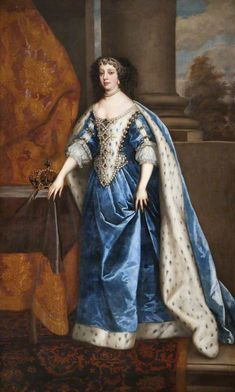 Her Majesty, Princess Catherine of Portugal (1638–1705), Queen Of England, Scotland and Ireland, and later Regent of Portugal. Daughter of John IV of Portugal,  Consort to King Charles II. She popularized tea drinking in England. Portrait by Peter Lely