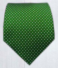 Amazon.com: 100% Silk Woven Kelly Green Pindot Tie: Clothing