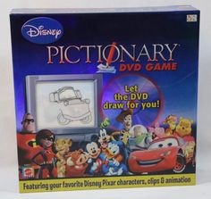 Disney Pictionary DVD Game: This fun-for-the-whole-family game combines the fun of Pictionary with cool Disney animation. Disney Games, Disney Theme, Disney Toys, Disney Fun, Disney Movies, Disney Pixar, Pixar Characters, Games For Toddlers, Family Game Night