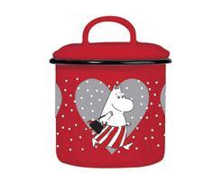 Joulu sesonki emal purnukka punainen, ihanan jouluinen keksipurkki :)