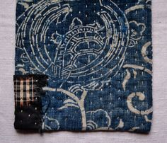 pot holder, table mat, hot pad, handsewn in antique japanese cotton indigo fabrics