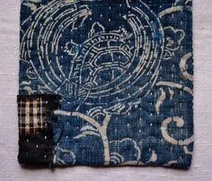 pot holder, table mat, hot pad, handsewn in antique japanese cotton indigo fabrics
