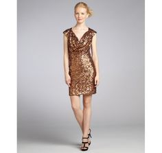 Great holiday dress!   French Connection bronze sequin cowl neck cocktail dress