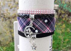 """Bracelet manchette """"Lehi"""" écossais strass Fée et étoile girly rose et noir pour femme fantaisie : Bracelet par libertylily"""