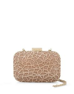 GABRIELLE'S AMAZING FANTASY CLOSET | SERGIO ROSSI | Nude Suede Box Clutch with Abstract Crystal Network | Gold Hardware |
