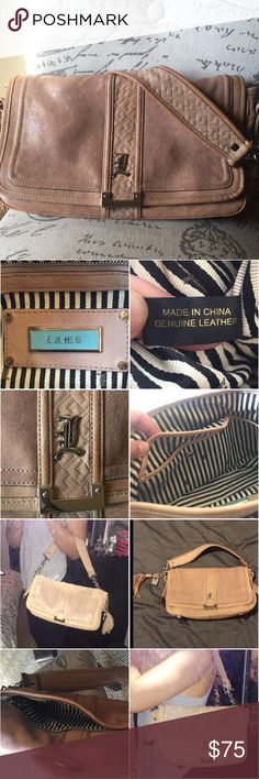 """RARE Vintage L.A.M.B. By Gwen shoulder bag VGUC Genuine leather tan/blush color, very good used condition. Signature plaque & striped cloth interior. 3 interior pockets, no stains inside. Outside zipper pocket. 9"""" strap drop. Some normal wear on leather, small dark spot on back side (see pics). No dust bag. Make an offer! L.A.M.B. Bags Shoulder Bags"""