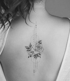 I like the size and placement - - I like the size and placement Tattoo Ich mag die Größe und Platzierung Floral Back Tattoos, Flower Spine Tattoos, Girl Back Tattoos, Dainty Tattoos, Feminine Tattoos, Dope Tattoos, Pretty Tattoos, Beautiful Tattoos, Body Art Tattoos