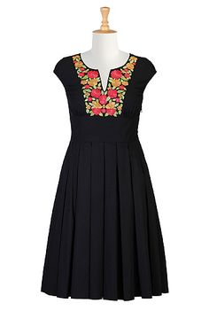 I <3 this Vibrant floral embroidery poplin dress from eShakti
