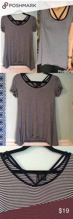 👑Navy Striped Criss-cross Top👑 Worn only once- no flaws! Bought from Nordstrom. Super soft and adorable! Brand name is UltraFlirt Nordstrom Tops Blouses