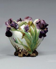 Majolica Iris jardinière by Delphin Massier, Vallauris, France Glazes For Pottery, Ceramic Pottery, Glass Ceramic, Ceramic Art, Art Nouveau, Keramik Vase, Delphine, Vintage Planters, Ceramic Flowers