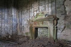 "Buchanan Castle Fireplace {Explored} by Bora Horza, via Flickr ""The most spectacular part of Buchanan Castle that is still left fairly undisturbed is this grand fire place which sits inside one of the main entrance hallways"""