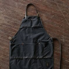 waxed canvas & black leather Craftsman's Apron - for Chris