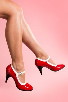 Pleaser - 40s Mary Jane Betty Lipstick Red White spectator patent pumps