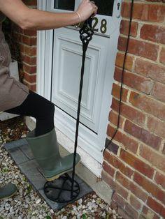 Welly Scraper With Handle Green Free Standing Ground Spike Boot Scraper