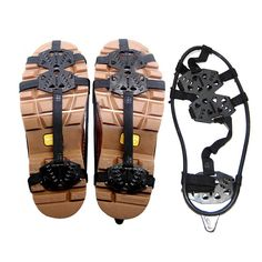 Antiskid Shoe Covers Crampons 18 Teeth Ice Cleats Shoe Boot Tread Grips Snow Traction Device (L). size(Europe Size):M:34-40 /L: 41-46. Easy on/off to fit boots, sneakers, casual and dress shoes-Wrap the front around your toe section, then stretch the back around your heel. Thermoplastic elastomer with excellent elastic & high density manganese steel to ensure the maximum durability. Easy on, easy off light weight winter trail crampon with superior traction and stability. Perfect solution…