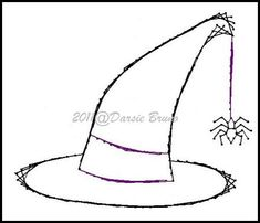 Halloween Witch Hat Embroidery Pattern for Greeting Cards by Darse, $1.50