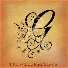 Lettera G anemone tattoo