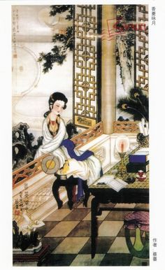 "Painting by CaiYun of scenes from the famous novel, ""Dream of Red Mansions""  (红楼梦) by  author Cao Xueqin 曹雪芹,"