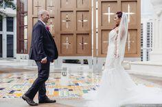 #janelleandstevetakemiami #firstlook Photo: Tom Couture Weddings Dress & Veil: Custom Galia Lahav Floral: Rodri Creations Wedding Coordinator: Catalan Productions Venue: Viceroy Miami #galialahav #bride #modernwedding #brideandgroom