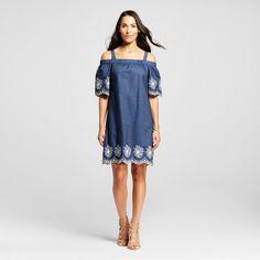 Women's Embroidered Denim Off the Shoulder Dress - Studio One : Target