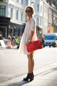 Street style | Cream mini dress, booties, purse