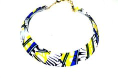 Yellow And Blue African wax BIB Necklace -Fabric Choker necklace/ Bordeaux/ Christmas gift, Trendy Necklace/ African Print Necklace