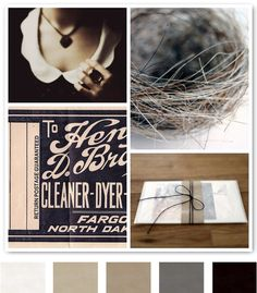 1. HISTORY OF THE WHITE COLLAR, 2. VINTAGE LABEL - COLLAGE ALTERED ART, 3. HORSE HAIR NEST, 4. UNTITLED