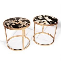 Petrified Wood End Table-hand-Cut Petrified Wood Tiles inlayed into a High Polished Bronze Frame