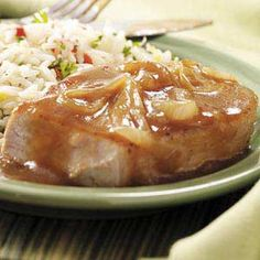 Pork Chops with Onion Gravy~I would start the gravy for the chops earlier that what the directions say.  Be ready to pour the gravy in at about four to five minutes before they are done or about 155 on the thermometer.  If you follow the directions you will end up with dry chops and nobody likes dry meat.