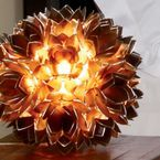 Table Lamps: blooming lotus chandelier Individually cut capiz shells arranged in an intricate blooming lotus chandelier