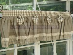 Like the bottom of the curtains No Sew Curtains, Home Curtains, Burlap Curtains, Country Curtains, Kitchen Curtains, Valance Curtains, Valances, Cortinas Country, Primitive Curtains
