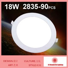 18W Round LED Panel Light AC85-265v Recessed Downlight Ceiling Bulbs 90pcs SMD2835 Chips Warm white / White Freeshipping