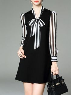 Shift Long Sleeve Cotton Casual Stripes Mini Dress