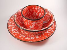 Great Set of Cup Plate and Bowl in red/orange by MissPattisAttic, $14.99