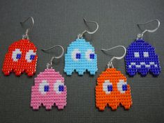 Pacman Ghost Earrings Blinky Pinky Inky Clyde Seed by Pixelosis, $25.00