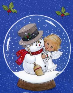 Ruth Morehead Angels and Snowman Christmas Cards Christmas Globes, Christmas Balls, Christmas Pictures, Christmas Angels, Christmas Art, Vintage Christmas, Christmas Holidays, Snow Globes, Christmas Applique