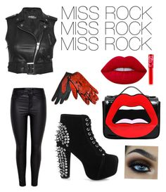 """MISS ROCK"" by flobetty on Polyvore featuring Mode, Jeremy Scott, Jeffrey Campbell, Yazbukey, Lime Crime und Yves Saint Laurent"