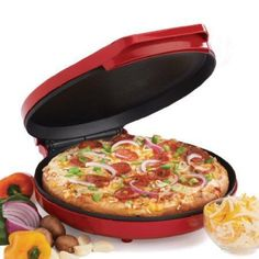 """Betty Crocker Pizza Maker Perfect for quesadillas, nachos, mini frittatas, quiche, croissants, giant cookies, hors d'oeuvres  more • Fast, fun  energy efficient •Bakes 12"""" pizzas with a deliciously crispy crust •Nonstick coated baking plate bakes crust to perfection  makes clean up easy • Bakes fresh homemade pizzasflatbreads with favorite toppings without even turning on an oven •Power on  temperature-ready indicator lights •Cord-wrap for storage $34.83"""
