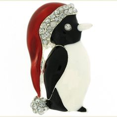 Enamel  and  Crystal Penguin with Christmas Hat Brooch