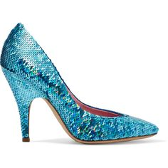 Moschino Sequinned leather pumps (990 RON) ❤ liked on Polyvore featuring shoes, pumps, blue, blue leather pumps, pointed-toe pumps, leather shoes, blue pumps and blue leather shoes