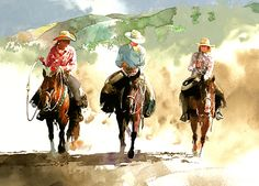 """Don Weller Watercolor """"Havaland Trio"""" orginal artwork by Don Weller. Art And Illustration, Watercolor Illustration, Watercolor Paintings, Watercolors, Cowboy Art, Painting People, Watercolor Animals, Watercolor Portraits, Western Art"""