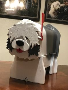 Old English Sheepdog mailbox mail box OES Garden Statue Cool Mailboxes, Wood Craft Patterns, Mail Boxes, Wood Dog, Old English Sheepdog, Dog Crafts, Garden Statues, Curb Appeal, Wood Projects
