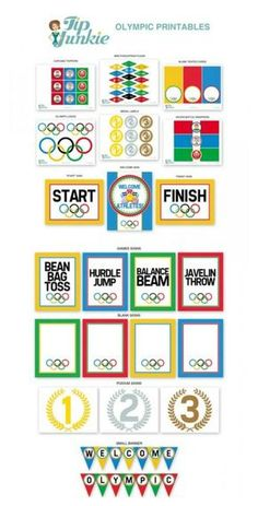 FREE Olympic Party printables for the best party around! These 13 Olympic Games Printable Party Decor from Tip Junkie! {FREEBIE}are fabulous! via @tipjunkie Office Olympics, Kids Olympics, Summer Olympics, Beer Olympics Party, Senior Olympics, 2020 Olympics, Special Olympics, Olympic Games For Kids, Olympic Idea