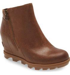 Brand new, price firm NO offers Size 7= EU 38 Joan of Arctic Wedge II Zip Boot Velvet Tan color Leather upper, waterproof, wedge heel. blackened brown.