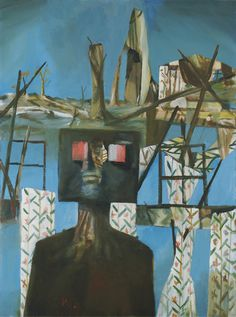 "Sidney Nolan. After Glenrowan Siege (Second Ned Kelly series). 1955. Enamel on composition board. 48 x 36"" (121.9 x 91.5 cm). Benjamin Scharps and David Scharps Fund. 340.1955. Painting and Sculpture"