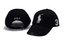 Men's / Women's Polo Ralph Lauren Big Pony Number 3 Strapback Adjustable Golf Hat - Black